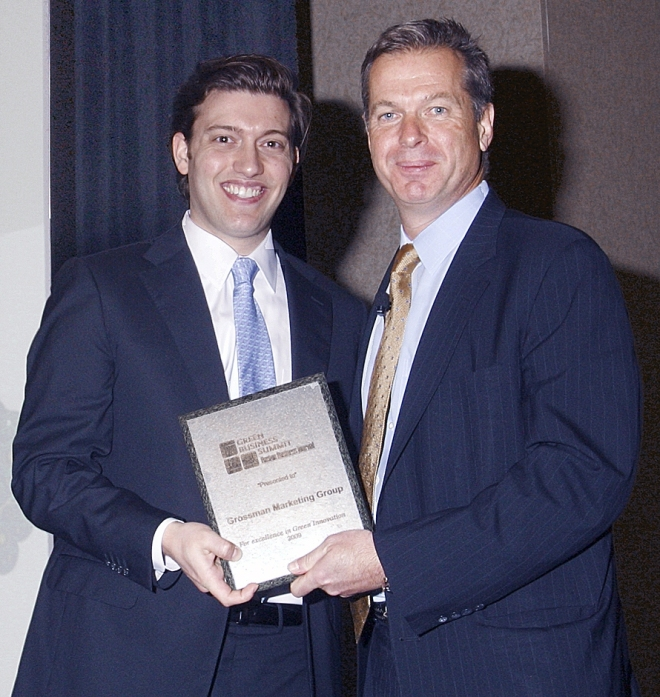 George Donnelly, Editor-in-Chief, Boston Business Journal, presented Ben Grossman, Director of Grossman Marketing Group's Green Marketing & Sustainability Practice, with an award recognizing his firm's innovation in the printing and marketing industry. (Image courtesy Boston Business Journal)